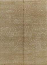 Abstract GREEN Plush Nepalese Tibetan Wool/Silk Modern Area Rug Carpet 8x11