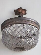 Ancien petit lustre corbeille montgolfière Empire , bronze et perles cristal