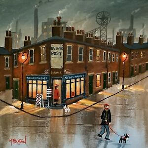 MAL.BURTON ORIGINAL OIL PAINTING. HOME WITH THE PAPER    NORTHERN ART DIRECT
