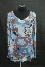 INFINITY Damen Tunika Bluse Hemd Blau mit Blumemuster , Gr. L 44/46