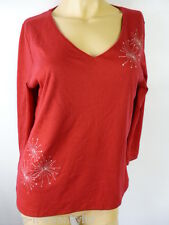 Ladies Red V Neck Diamante Embroidered 3/4 Sleeved Top UK 10-12 EU 38-40
