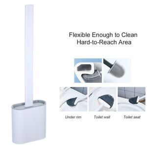 Silicone Toilet Bowl Cleaner Brush Flat Head Flexible Bristle with Holder WHITE