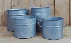 Large Round Zinc Barrel Planter, Dolly Tub, Rustic Grey Metal Plant Pot Handles