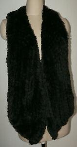 Women's NWT Peck & Peck Size XL Black Faux Fur Polyester Vest