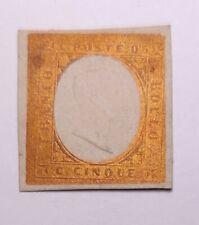 Italian states sardinia sardegna 1854 RARE SUPERB 5c trial/proof in GOLD