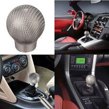 1x Silver Carbon Fibre Fiber Manual Car Truck Gear Shift Shifter Knob Lever Ball