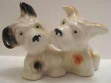 Old 1920-30s Pair Terrier Dogs / Puppies Ceramic Figure Marutomoware Japan