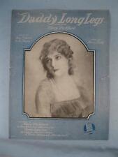 Daddy Long Legs Sheet Music Vintage 1919 Harry Ruby Mary Pickford Sam Lewis (O)