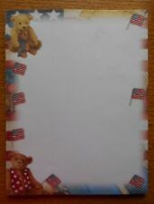 Vintage Letter Stationery PATRIOTIC TEDDY BEAR American Flags 40 Sheet Pad