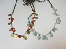 Necklace Nwt $28 ea Set of 2 Anthropologie Brown Rope Turq Red Charm Tie