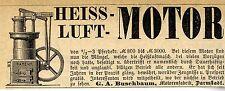 Motorenfabrik G.A. Buschbaum Darmstadt HEISSLUFT-MOTOR Annonce 1883