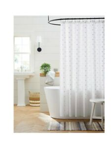 Swiss Dot Shower Curtain - Shell with White Dots - Threshold™  Cottage Farmhouse