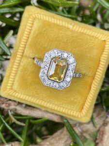Deco style Yellow Sapphire And Diamond Platinum Ring 0.50ct Dia & 1.30ct Saph