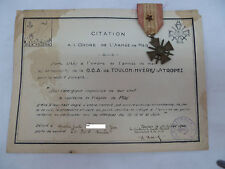 DIPLOME MEDAILLE CITATION MARINE 1940 DCA TOULON ARTILLERIE ORIGINAL NAVY MEDAL