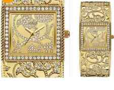 GUESS Ladies Rhinestone Gold Tone Quartz Watch Vintage Look Gold Dial Brand New