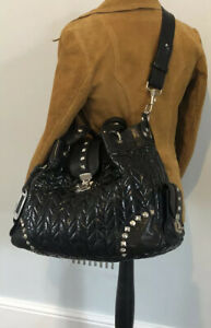 Black quilted patent leather bag, Russell & Bromley.