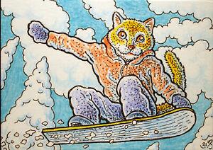 ACEO  Fantasy Original Snowboarding Cat
