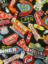 RETRO DINER SIGNS FOOD ROUTE 66 SIGN HOLLYWOOD COTTON FABRIC BTHY