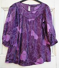 WOMEN'S RETRO TUNIC TOP PURPLE ATMOSPHERE SIZE 8 S hippy 60s 70s style maternity