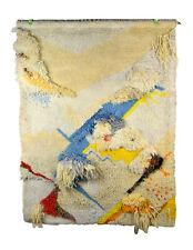 Vintage Mid-Century Modern Fiber Art Latch Hook Wall Hanging Tapestry