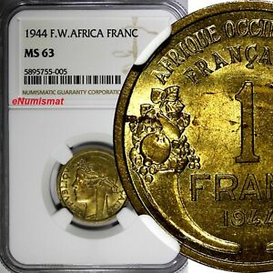French West Africa Aluminum-Bronze 1944 1 Franc NGC MS63 Laureate Head KM#2/005