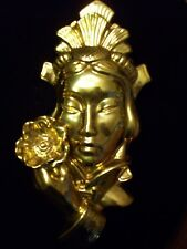 Vintage Pair Large Regal Asian Chinese Man & Woman Gold Ceramic Heads