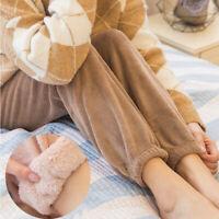 Women Coral fleece Pants Thicken Fur Lined Trousers Pyjama Bottoms Sleepwear UK