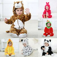 Newborn Baby Boys Girls Winter Hooded Cartoon Romper Jumpsuit Outfits Clothes