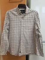 Marks And Spencer Blue Harbour Men's Luxury Beige Check Long Sleeve Shirts Size