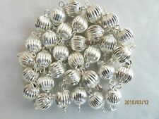 10 Solid Sterling Silver Fluted Ball Bead Clasps - 7 mm Round Ball