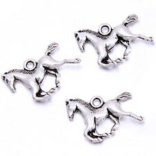 50pcs Retro Silver Tone Running Horse Charms Jewellery Pendant Craft Ornament BS