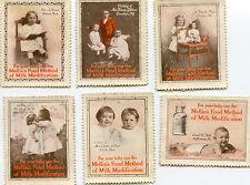 Poster Stamp Label set of 6 MELLINS FOOD METHOD MILK MOD Baby Formula  #IM
