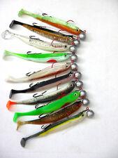 10x MB Fishing Stint Shad  13 cm mit Jig und Stinger Hecht Softbait Zander Gummi