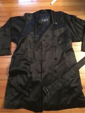 BURBERRY PRORSUM Sateen Double Faced Heritage Trench Coat in Black Size 10/12