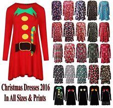 Womens Xmas Swing Flared Long Sleeve Ladies Christmas Party Santa Skater Dress