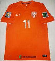 HOLLAND NETHERLANDS FIFA WORLD CUP 2014 HOME FOOTBALL SOCCER JERSEY #11ROBBEN