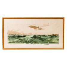 """Orig. Framed Lithograph Bleriot Traversant la Manche 1909 by E. Montaut 36-5/8"""""""