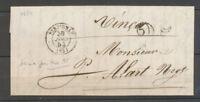 30 JUIN 1854 Lettre taxe 25 double-trait, dernier jour de ce 25 X4127