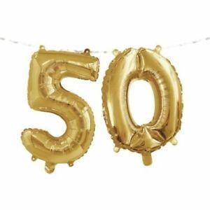"Gold 50th Birthday Balloon Banner 16"" x 5' Foil 50 Supplies Birthday Décor"