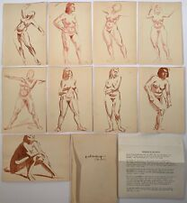 Henry J Glintenkamp (1887-1946) Collection Of 9 Signed Ink & Wash Nude Paintings