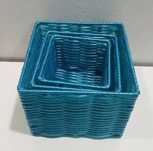 Set 3 nesting small Storage Baskets cube shape teak plastic and wire