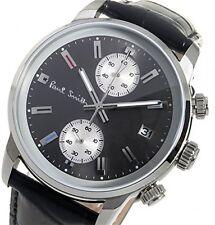 Paul Smith Mens Quartz Watch Black Dial Chronograph Display Black Leather P10031