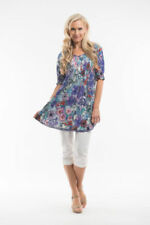 Collarless 100% Cotton Tunic Tops & Blouses for Women