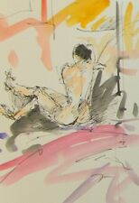 JOSE TRUJILLO - ORIGINAL Watercolor Painting SIGNED MODERNIST NUDE RESTING COA