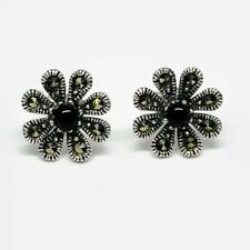 1.20 Ct Stud Earrings 3 MM Antique Black Onyx & Marcasite In 925 Sterling Silver
