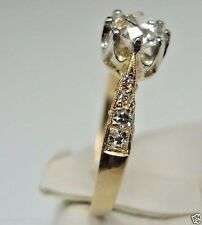 Antique Diamond Engagement Platinum 18K Yellow Gold Ring Size 7.75 UK-P EGL USA