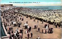 1910 View of the Boardwalk and Beach Coney Island New York City Postcard