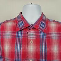 Bugatchi Uomo Classic Fit Mens Blue Red Check Plaid Dress Button Shirt Size XL