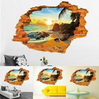 3D Beach Removable Art Vinyl Quote DIY Wall Sticker Decal Mural Home Room Decor