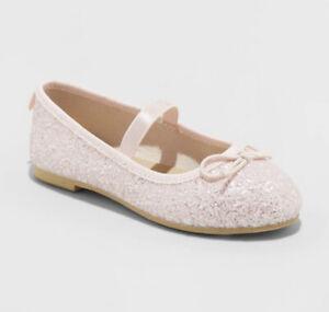 NWT Toddler Girls' Lily Glitter Ballet Flats - Cat & Jack™ Pink Choose Size